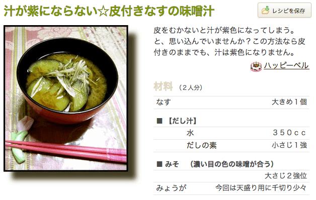 おいしい味噌汁レシピ つくれぽ ナス