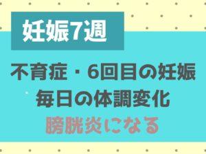 妊娠7週 ブログ 体調日記 不育症 膀胱炎